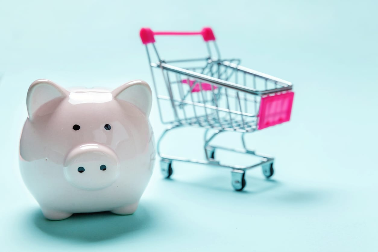 Piggy bank and trolley